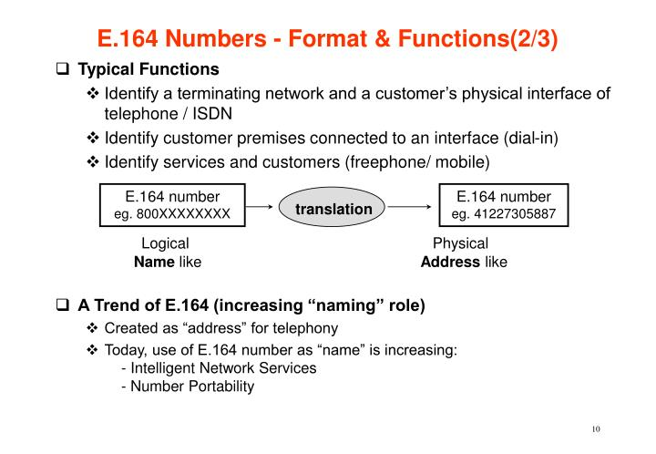 E.164 Numbers - Format & Functions(2/3)