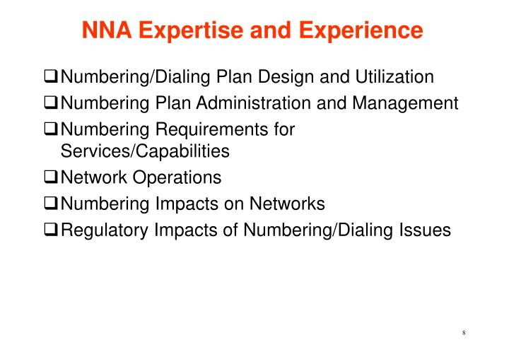 NNA Expertise and Experience