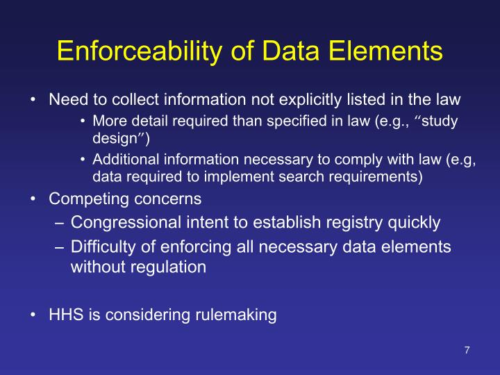 Enforceability of Data Elements