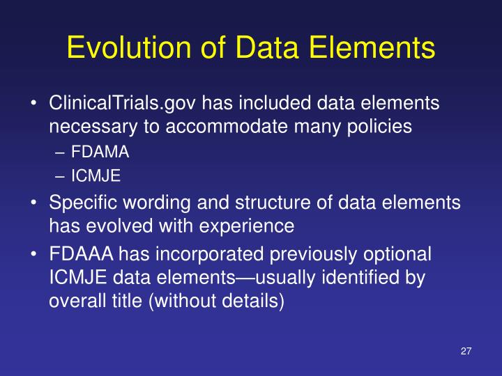 Evolution of Data Elements