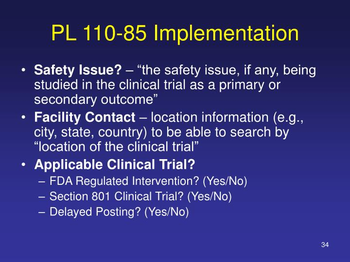 PL 110-85 Implementation