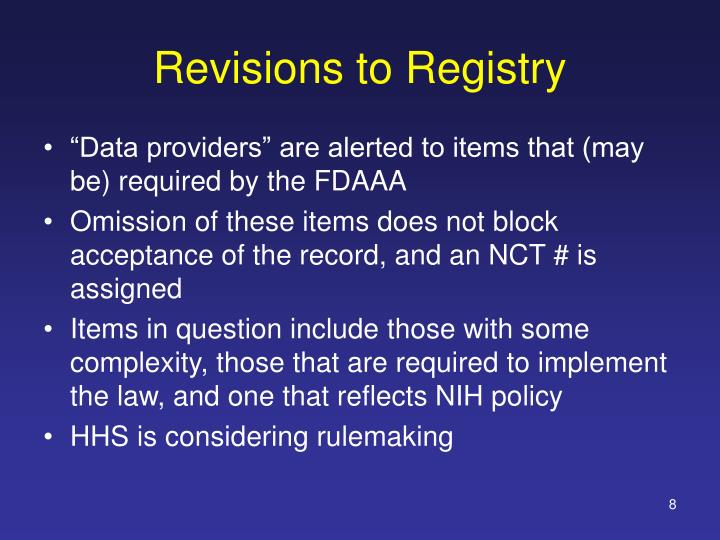 Revisions to Registry