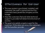 effectiveness for end user1