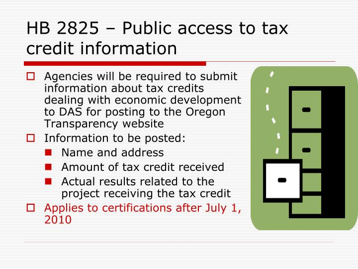 HB 2825 – Public access to tax credit information