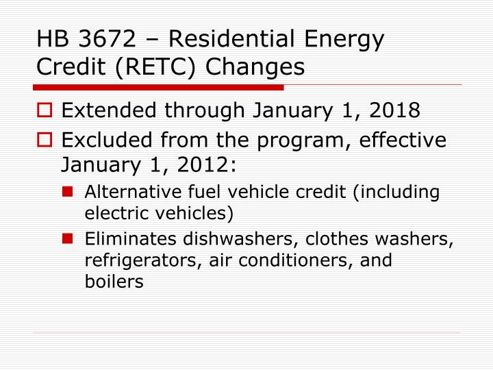 HB 3672 – Residential Energy Credit (RETC) Changes