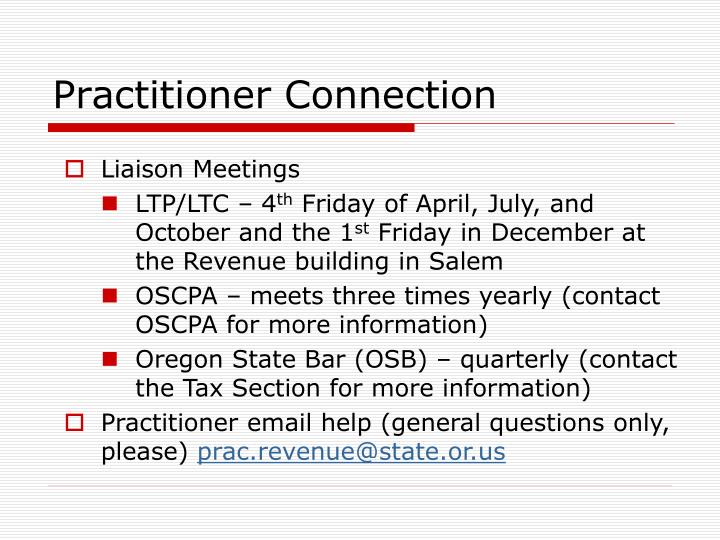 Practitioner Connection