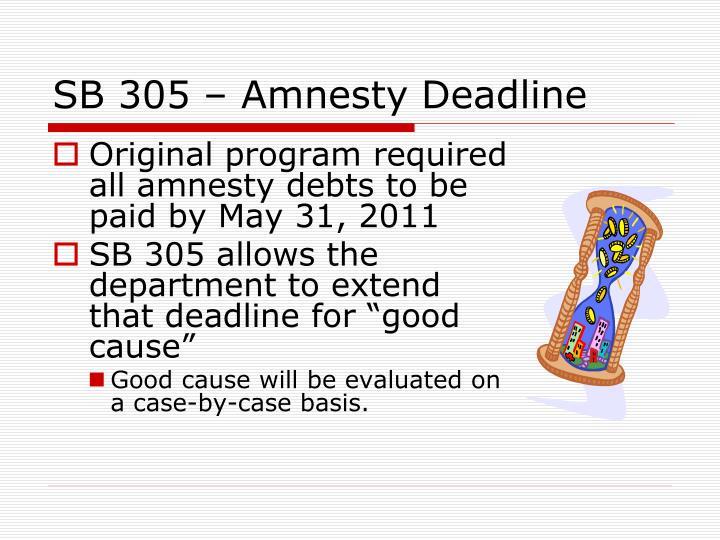 SB 305 – Amnesty Deadline
