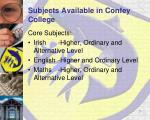subjects available in confey college