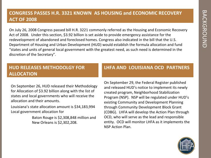 CONGRESS PASSES H.R. 3321 KNOWN  AS HOUSING and ECONOMIC RECOVERY ACT OF 2008