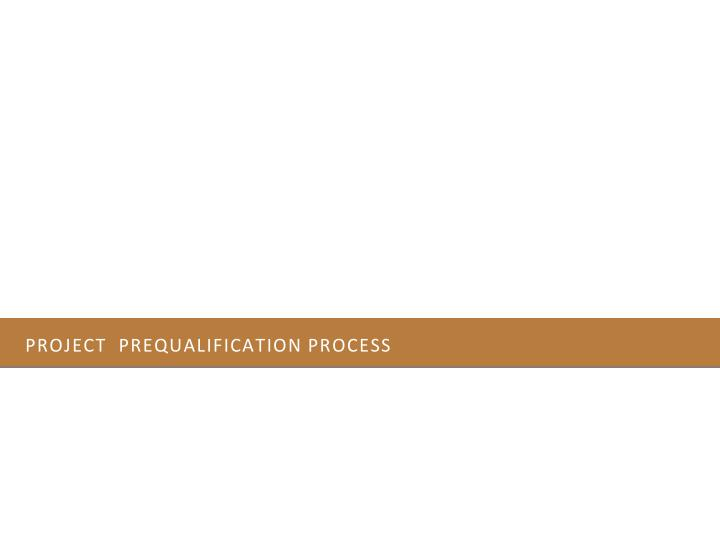 Project  prequalification process