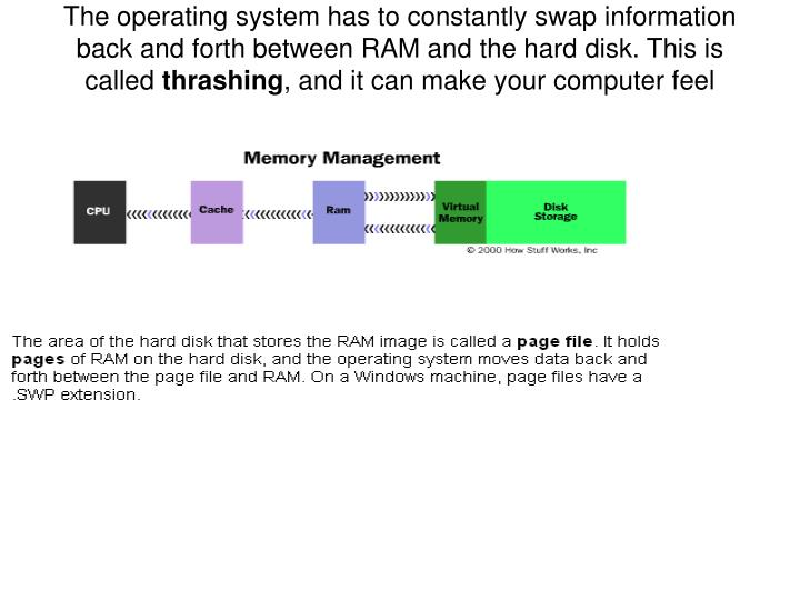 The operating system has to constantly swap information back and forth between RAM and the hard disk. This is called
