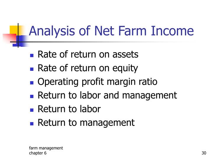 Analysis of Net Farm Income
