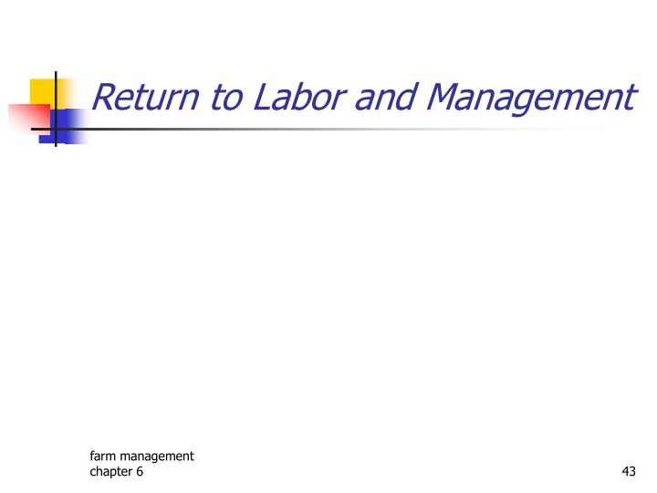 Return to Labor and Management