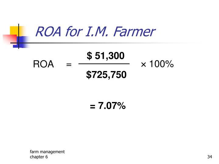ROA for I.M. Farmer