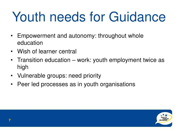 Youth needs for Guidance