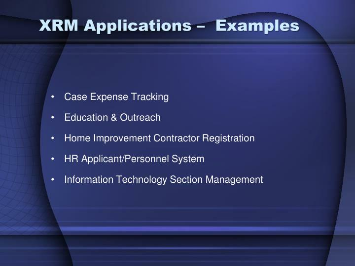 XRM Applications –  Examples