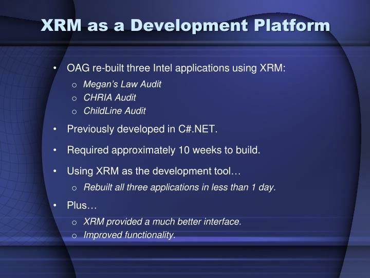 XRM as a Development Platform