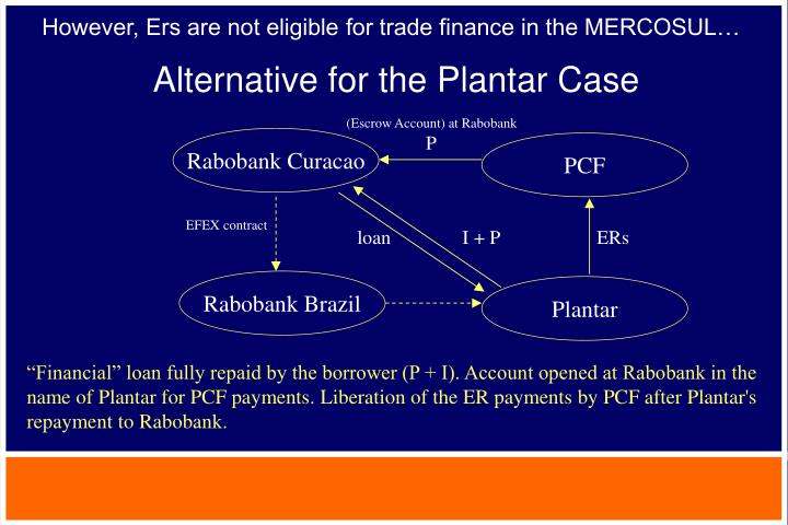 However, Ers are not eligible for trade finance in the MERCOSUL…