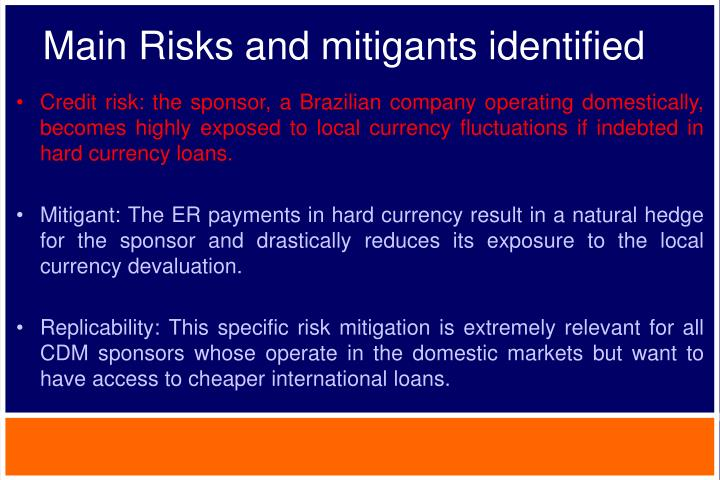 Main Risks and mitigants identified
