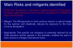 main risks and mitigants identified1