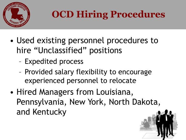 OCD Hiring Procedures