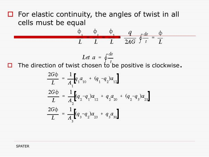 For elastic continuity, the angles of twist in all cells must be equal