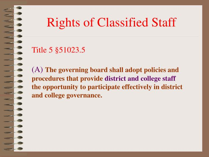 Rights of Classified Staff