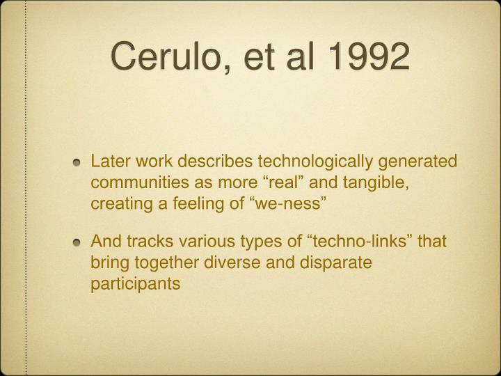 Cerulo, et al 1992