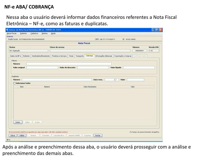 NF-e ABA/ COBRANÇA