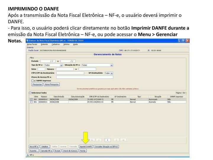 IMPRIMINDO O DANFE