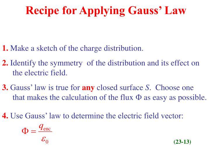 Recipe for Applying Gauss' Law