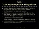 ocd the psychodynamic perspective