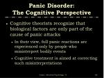 panic disorder the cognitive perspective
