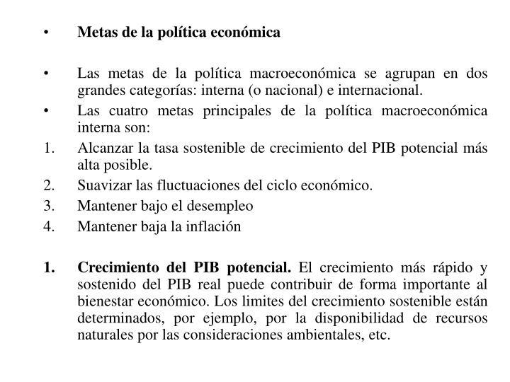 Metas de la política económica