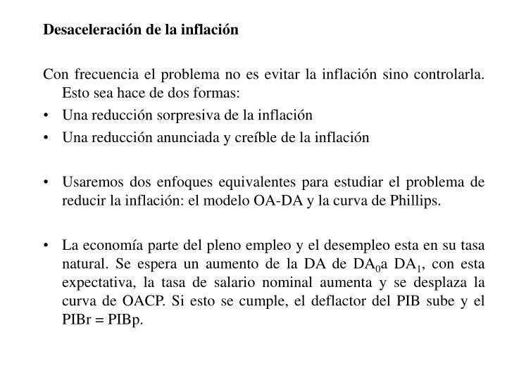Desaceleración de la inflación