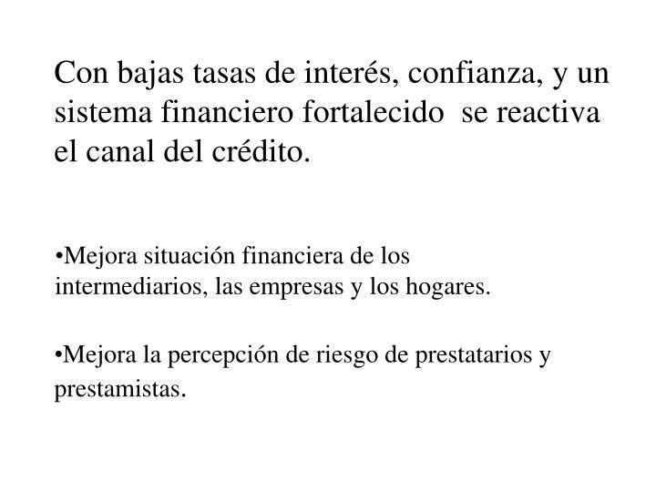 Con bajas tasas de interés, confianza, y un sistema financiero fortalecido  se reactiva el canal del crédito.