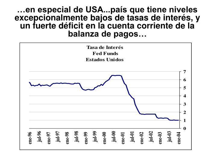 …en especial de USA...país que tiene niveles excepcionalmente bajos de tasas de interés, y un fuerte déficit en la cuenta corriente de la balanza de pagos…