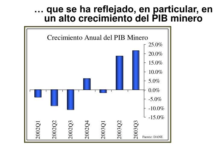 … que se ha reflejado, en particular, en un alto crecimiento del PIB minero