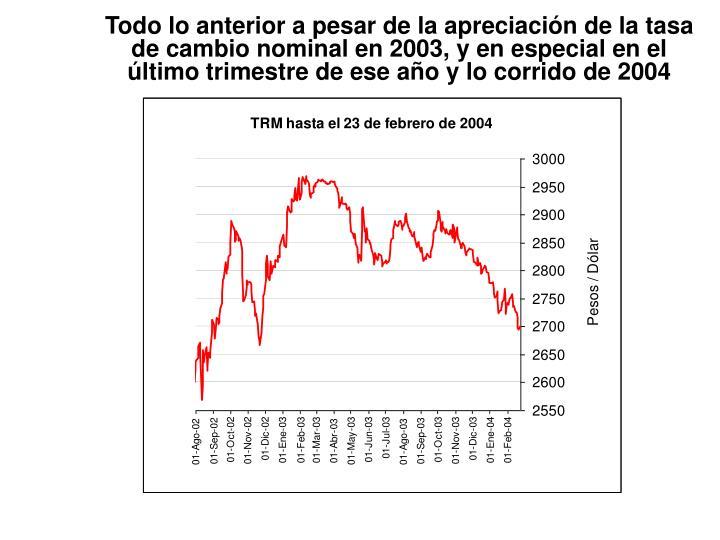 Todo lo anterior a pesar de la apreciación de la tasa de cambio nominal en 2003, y en especial en el último trimestre de ese año y lo corrido de 2004