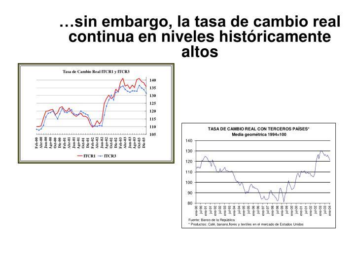 …sin embargo, la tasa de cambio real continua en niveles históricamente altos