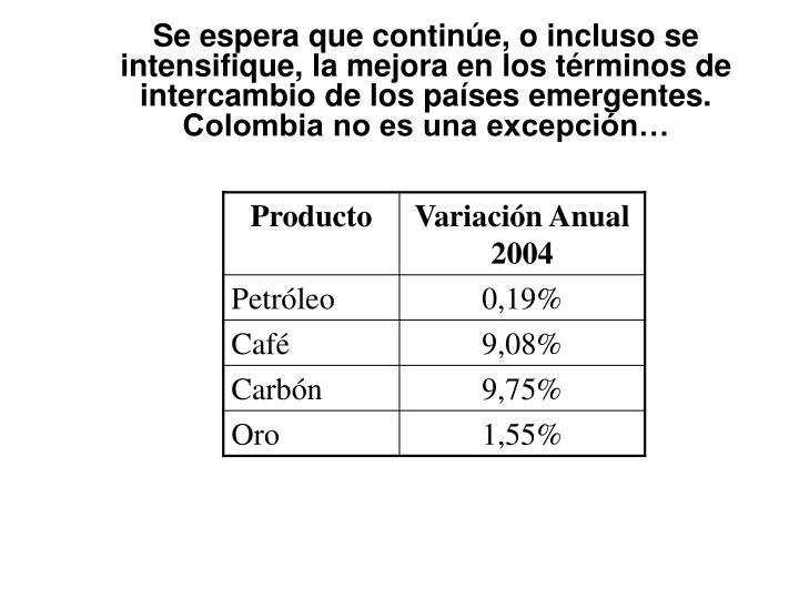 Se espera que continúe, o incluso se intensifique, la mejora en los términos de intercambio de los países emergentes. Colombia no es una excepción…