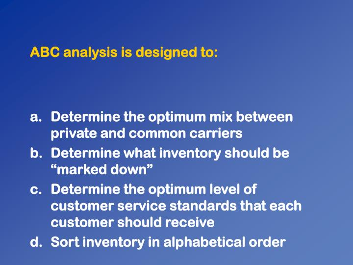 ABC analysis is designed to:
