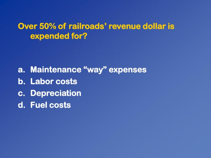 Over 50% of railroads revenue dollar is expended for?