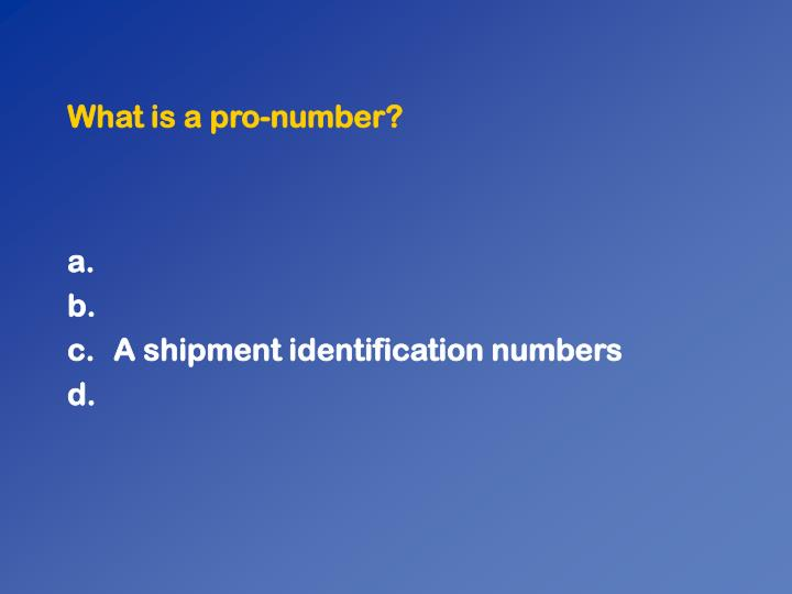 What is a pro-number?