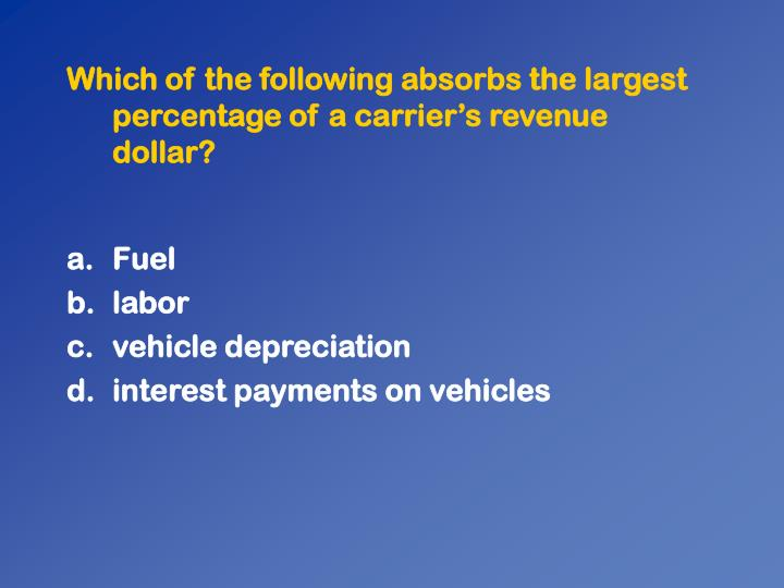 Which of the following absorbs the largest percentage of a carriers revenue dollar?