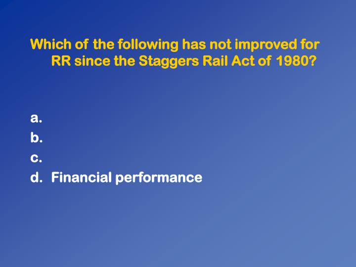 Which of the following has not improved for RR since the Staggers Rail Act of 1980?