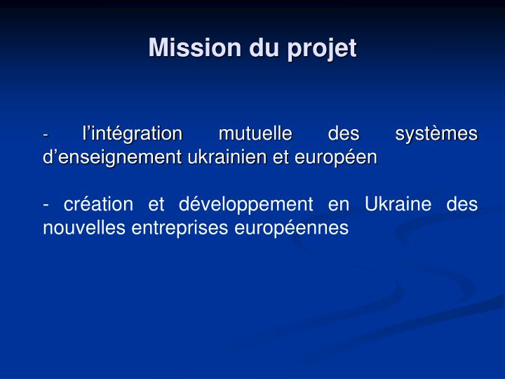 Mission du projet