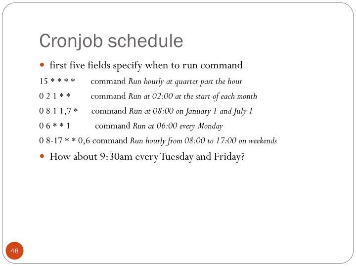Cronjob schedule