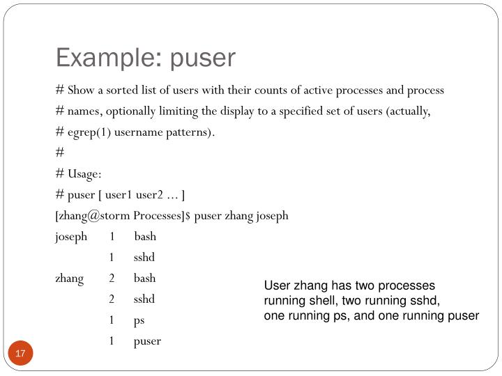 Example: puser