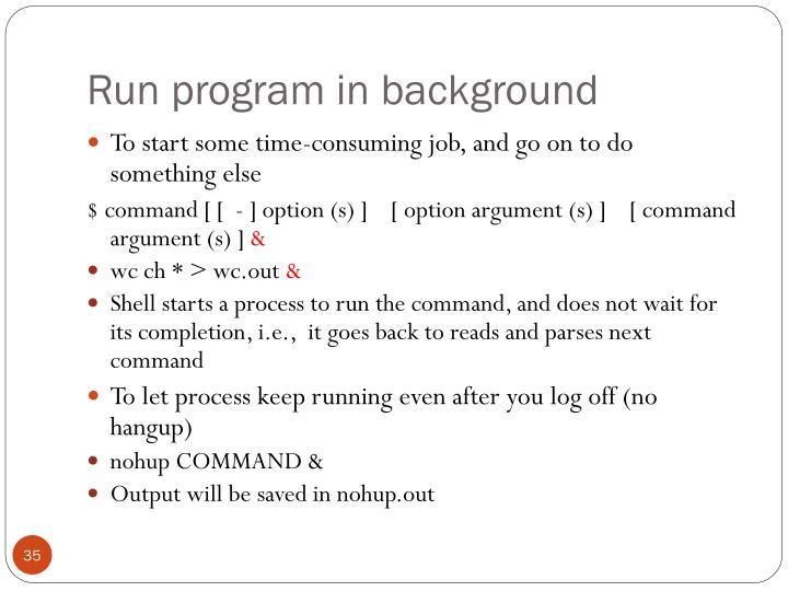 Run program in background